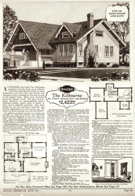 The Kilborn was a fine-looking craftsman bungalow, and was a big seller for  Sears Sears Modern Homes catalog).