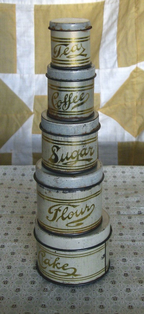 Vintage tin canister apologise, too