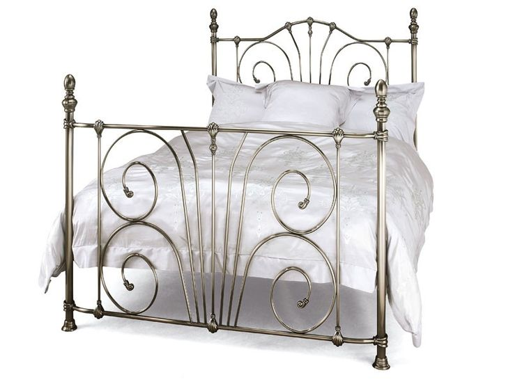 Jessica Antique Nickel Bedframe. The Jessica bedstead is simply beautiful. Featuring a graceful scroll design through the centre of the piece, the detail also incorporates clam details along the curved top rail. The stunning bedposts similarly have great attention to detail, with wide feet and ball-tops for one of the most elegant and vintage styled designs available.