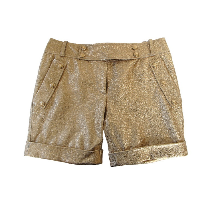 1stdibs | Gold Leather Versace Shorts