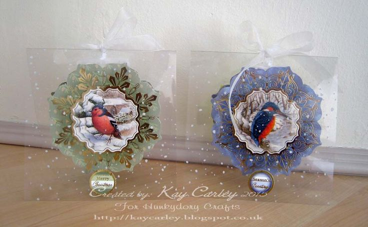 Snowfall acetate cards made with Hunkydory's Festive Birds of Britain Collection