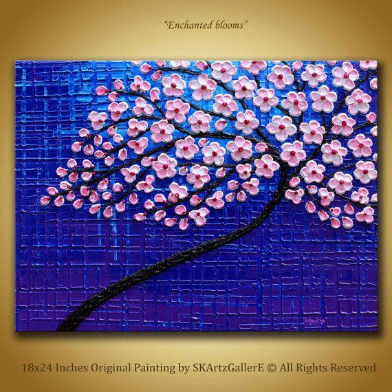 Cherry blossom Painting  Original Artwork  Blue Purple Painting cherry  blossom art Home decor Textured flowers painting 3d wall art 18x24. 17 Best ideas about 3d Wall Painting on Pinterest   3d wall art