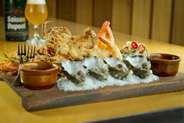 Quarie Seafood Trio Plate - 2 soft shell crab, 4 tempura prawns & 6 natural or kilpatrick oysters available @ The Quarie