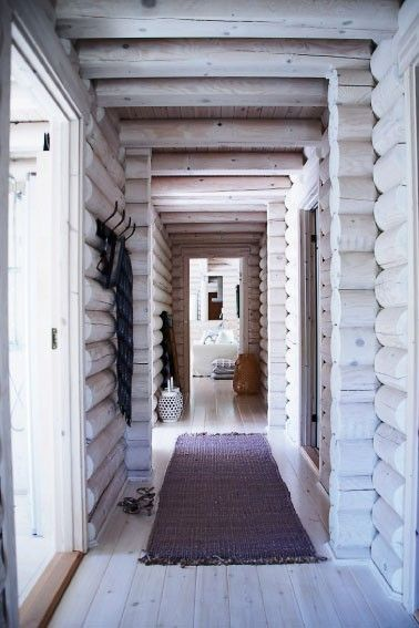 White washed log cabin interior. Beautifu!This would be pretty to do with the outdated pine color cabins.