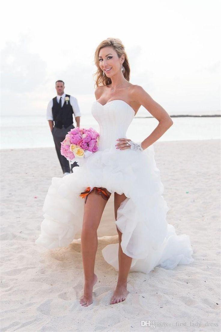 Fresh Western Style High Low Corset Bodice Beach Wedding Dress Lady Organza Fold Sweetheart Sexy Bridal Dress