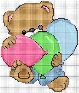 orsetto con palloncini - punto croce - cross Stitch - Kreuzstich - Punto de Cruz