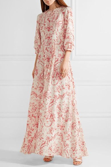 Vilshenko - Gizella Printed Silk Crepe De Chine Maxi Dress - Cream - UK