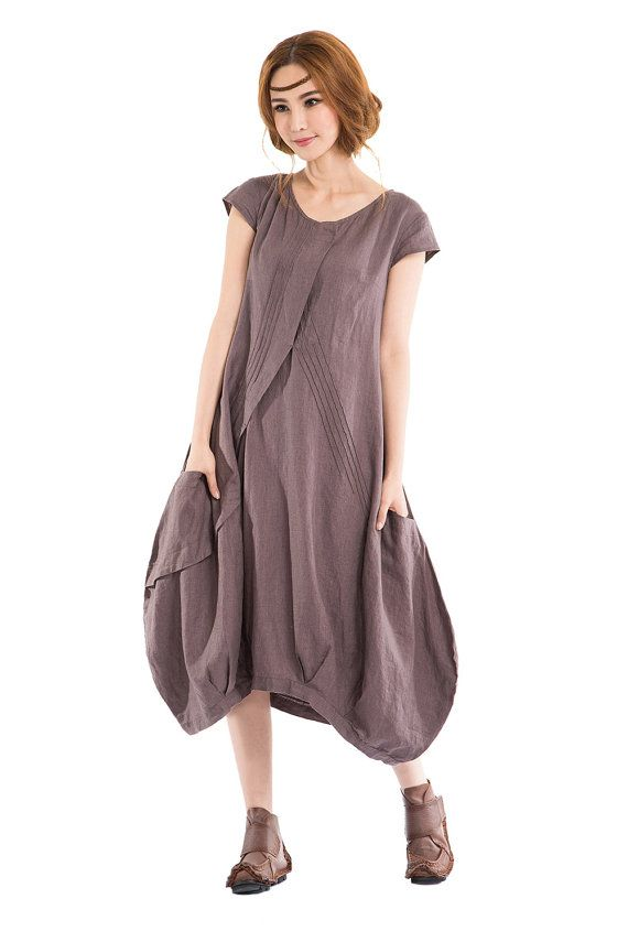 KL002D Flowers' Language/Womens Clothing Plus Size Petite Maternity Day Party Prom Casual Vintage Handmade Summer Bud Linen Cotton  Dress
