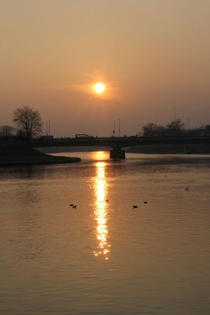 Sunset over Vistula River