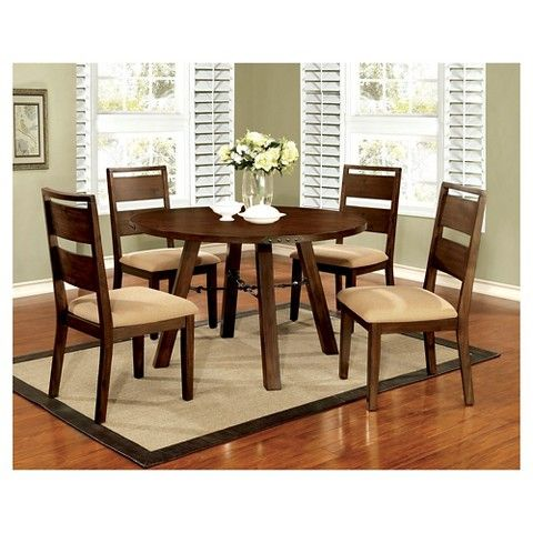 Industrial Detailed Round Dining Table Wood/Dark Oak - Furniture of America
