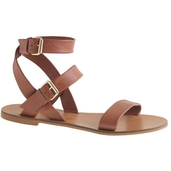 J.Crew Leila Ankle-Wrap Sandals ($135) ❤ liked on Polyvore featuring shoes, sandals, j.crew, j.crew sandals, ankle tie flat sandals, flats sandals, summer sandals and flat shoes
