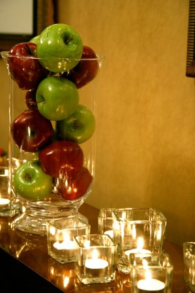 Apple Centerpiece ... All red apples and candles ... So simple :)