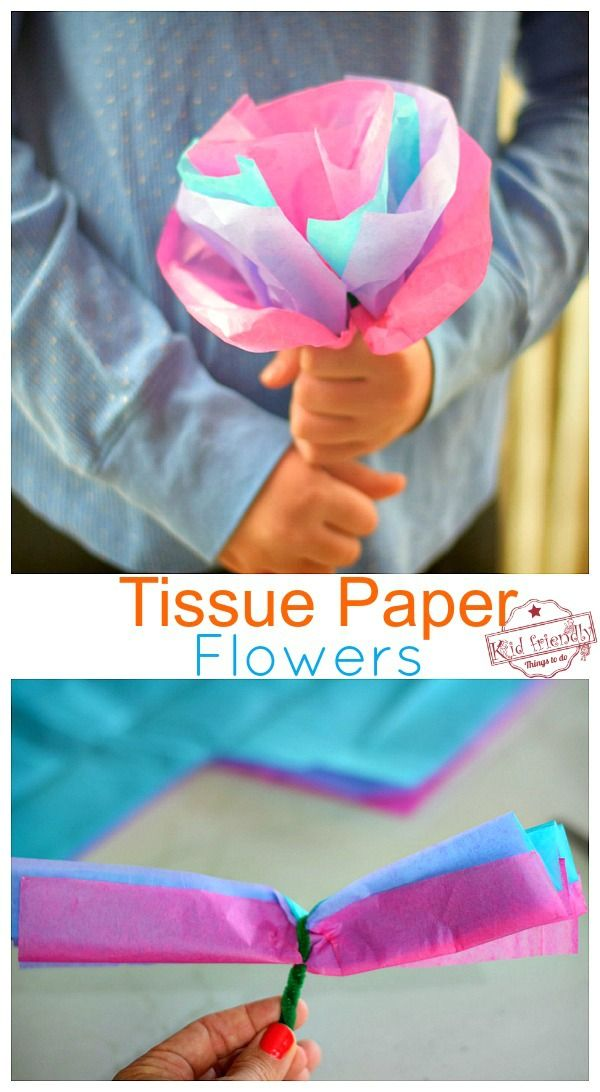 DIY Craft: How to Make Easy DIY Tissue Paper Flowers for kids. Parents will treasure these simple flowers. Perfect for preschool and younger kids, but great for older kids, as well. You can even make them giant or small. So much fun! <a class=