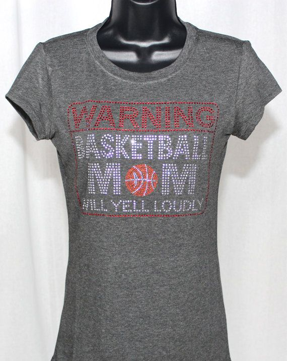 Basketball Mom Warning Message Bling by TheTeeShirtMakers on Etsy, $19.99