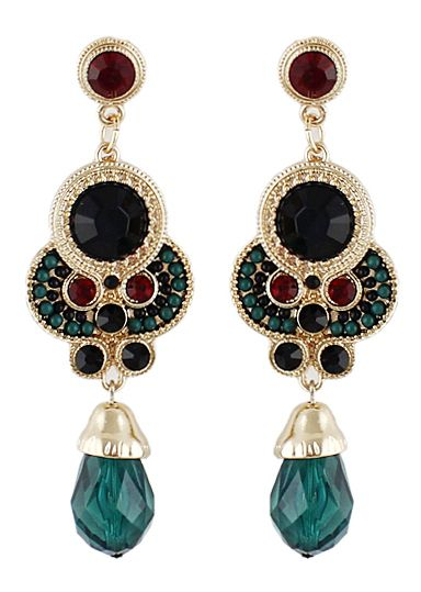 Shop Green Gemstone Gold Vintage Earrings online. SheIn offers Green Gemstone Gold Vintage Earrings & more to fit your fashionable needs.