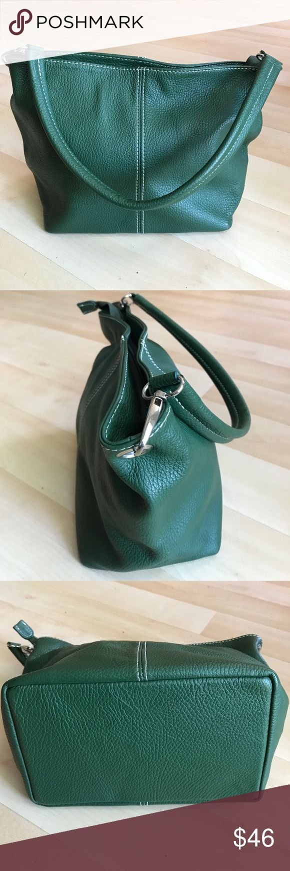 """New Green Italian pebbled leather purse New green Italian pebbled leather purse. Size 9""""(L),8""""(H),5""""(D). Shoulder handle is 18"""". Light and cute. Bags Shoulder Bags"""