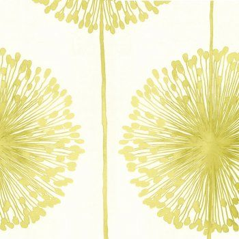 Muriva Dandelion Floral Wallpaper-it says cream and lime green, but it looks yellow to me? Not sure. If it is yellow, it shall go in the laundry room! if it is lime green not sure where it would go.