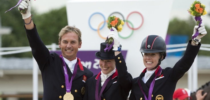 Equestrian team riders Carl Hester, Laura Bechtolsheimer and Charlotte Dujardin won Britain's first ever gold medal in a dressage team event. It was Team GB's 20th gold of London 2012 and the point where we overtook the 19 Golds that we got at the last Olympics in Beijing in 2008.