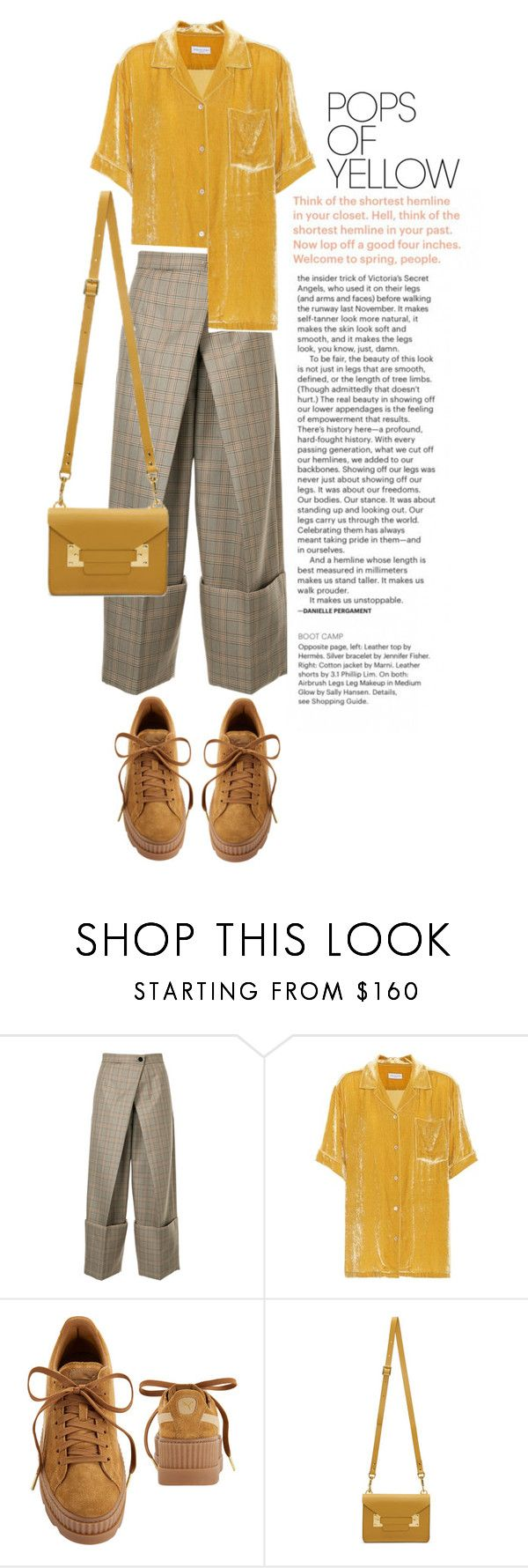"""""""RISE UP"""" by amltra on Polyvore featuring Astraet, Dries Van Noten, Puma, Sophie Hulme, PopsOfYellow and NYFWYellow"""