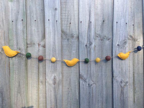 Mustard Felt Ball and Bird Garland 2.5 metres by radishandruth
