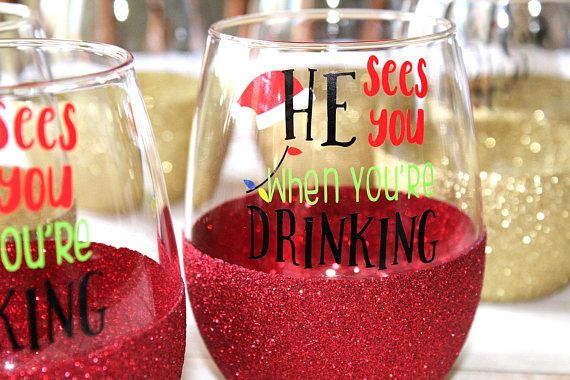 Christmas Gift for Her / Funny Christmas Wine Glass /