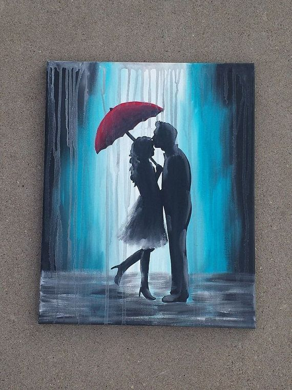 This is a painting of a couple in the rain under a red umbrella. This is done in acrylic paints