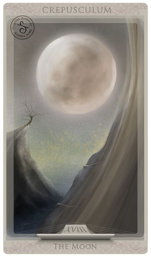 Tarot Card Art | Major Arcana | The Moon by Sabina Nore | Tarot Illustrated Cards | Divination | Oracle