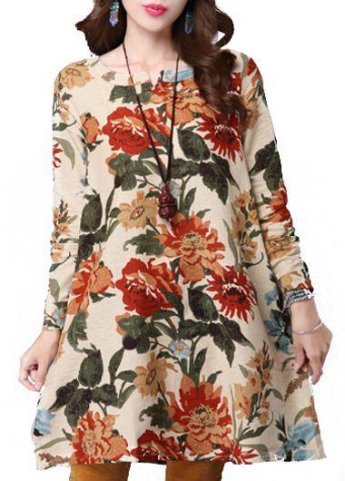 Flower Print Round Neck Straight Dress on sale only US$24.48 now, buy cheap Flower Print Round Neck Straight Dress at lulugal.com