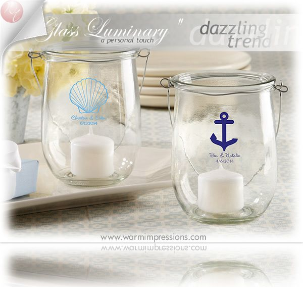 """Personalized Glass"" Luminary with Wire Handle Favors Gifts - 69% OFF - 27078NA - Cheap Wedding Favors - Cheap Bridal Shower Favors - Cheap Party Favors - http://www.warmimpressions.com/WEDDING_FAVORS/Personalized-Glass-Luminary-with-Wire-Handle-Favors-kate-aspen-27078NA.html  large 2"