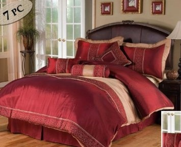 Amazon.com: 7 Pc. SATIN COMFORTER WITH EMBROIDERED SCROLLING DETAIL W/ MATCHING PILLOWS, QUEEN, BURGUNDY/TAUPE: Home & Kitchen