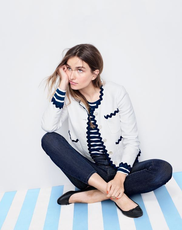 """J.Crew women's lady jacket with ric rac trim, stripe boatneck T-shirt, 9"""" Lookout high-rise jean in resin wash and Camille ballet flats."""