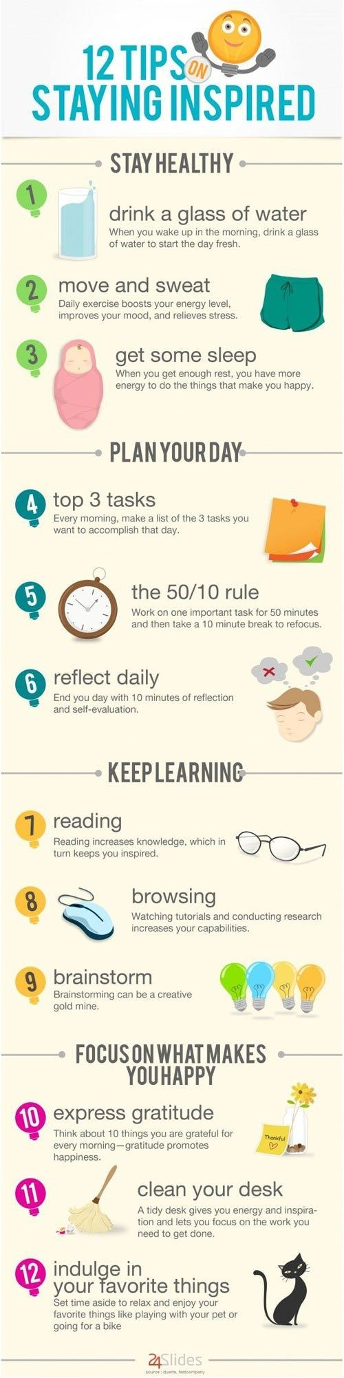 Most of my day is spent trying to make my day happier and more inspiring! I frequently practice these tips on my own, so I'm happy to find that there's an infograph to make it easier.