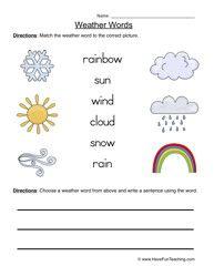 weather words worksheet 1 matching worksheets weather worksheets and earth science. Black Bedroom Furniture Sets. Home Design Ideas