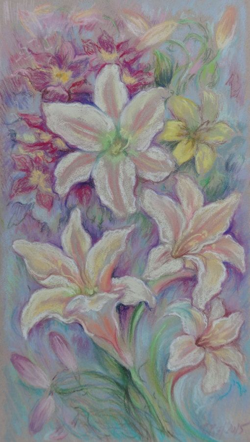 White lilies ORIGINAL PASTEL PAINTING Garden by CanisArtStudio