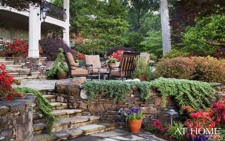 Backyard Oasis Designed By Landscape Associates Creeping Juniper And Azalea Bushes Line The ...