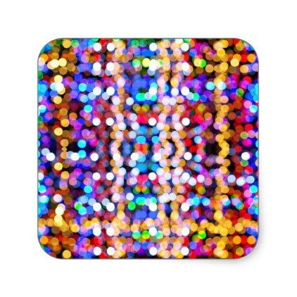 Colourful Bokeh Blurred Light Abstract Pattern Square Sticker - christmas stickers xmas eve custom holiday merry christmas