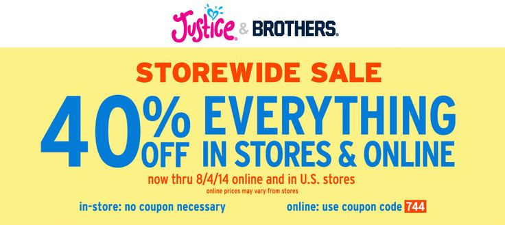 Pinned July 24th: 40% off everything at Justice & #Brothers, or online via promo code 744 #coupon via The #Coupons App