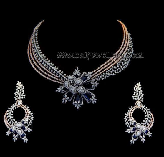 110 Grams Sapphire Diamond Set - Jewellery Designs