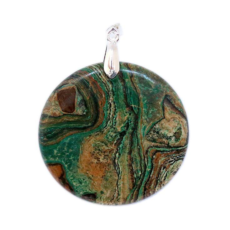 Round Green Malachite Pendant