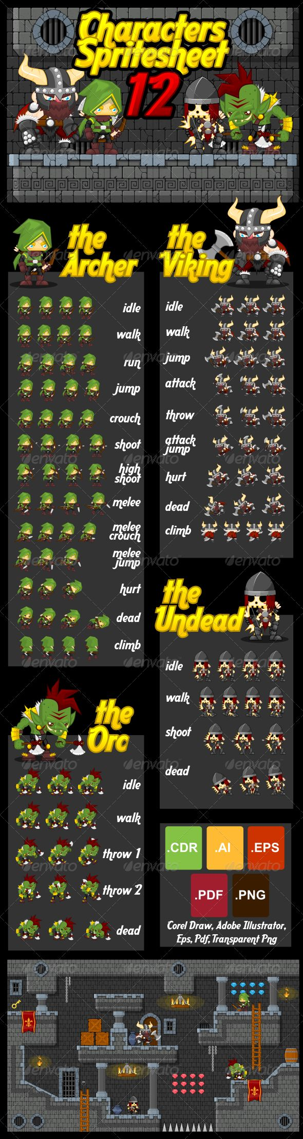 Characters Spritesheet 12 - Characters Vectors