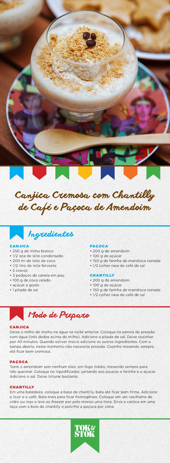Canjica cremosa, com chantilly de café e paçoca de amendoim, no pratinho #FestaDasCores. Precisa dizer mais alguma coisa? <3 #SãoJoão  | Receita do restaurante Arimbá http://www.arimbarestaurante.com.br/