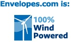 Envelopes.com is 100% Windpowered!    We are proud to offset 100% of our electrical consumption with Wind Power. Through the purchase of Renewable Energy Certificates (RECs), we are doing our part for the environment by funding wind farms and offsetting our carbon footprint by indirectly eliminating 236,753 pounds of carbon dioxide pollution.