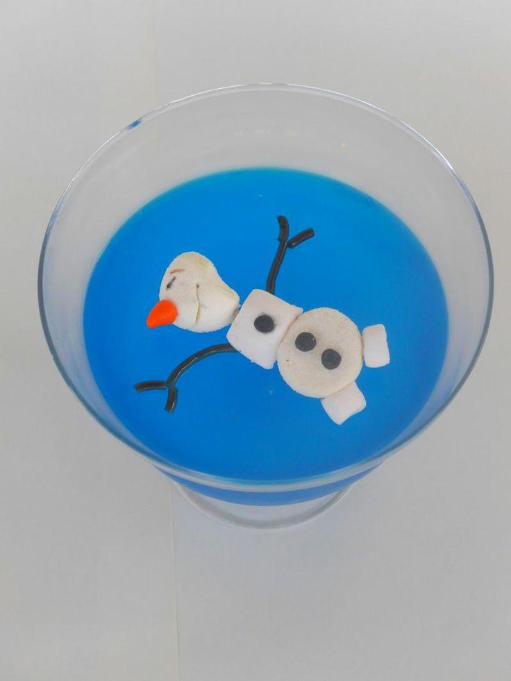 Olaf swimming in blue frozen jello!!