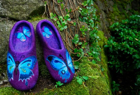 Amazing felted wool slippers! https://www.etsy.com/listing/194690087/felted-slippers-blue-butterfly-size-3738 $135