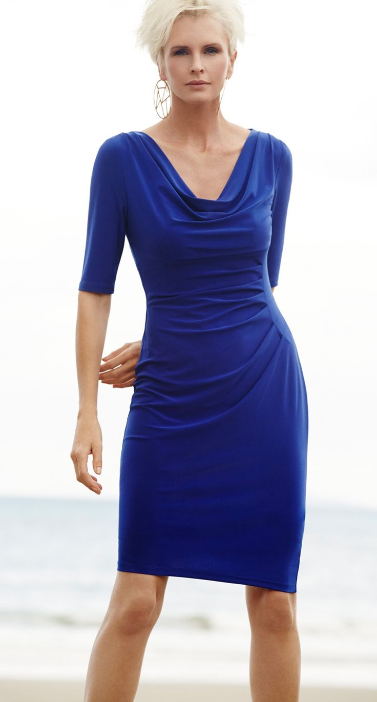 Paula Ryan Day to Dinner Dress in Azure Blue. Perfect for summer socialising or corporate corridors the Euro Knit Day to Dinner Dress works every time.