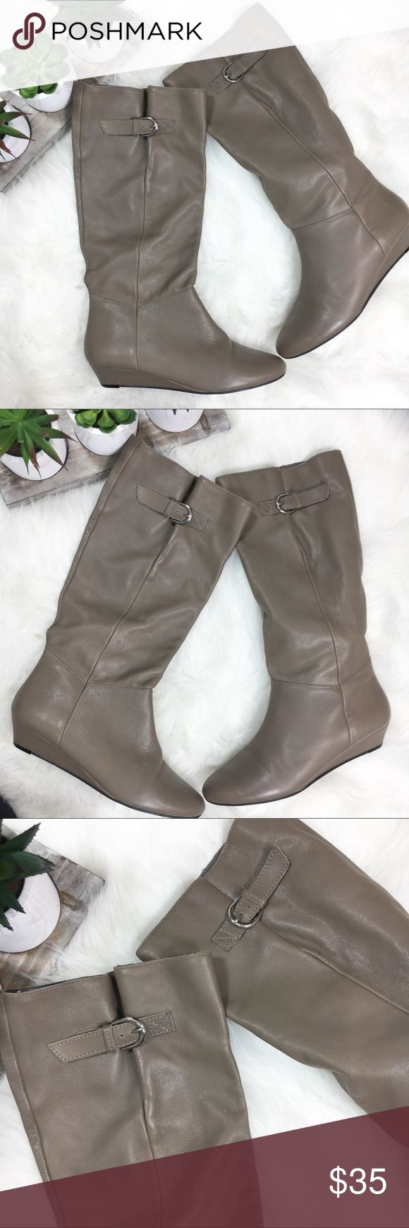 Steven Steve Madden Intyce Gray Leather Boots 9M Steven By Steve Madden Womens Intyce Knee High Leather Boots Light Brown Gray 9M  Heel Height- 1.5 Inches Steven By Steve Madden Shoes Heeled Boots