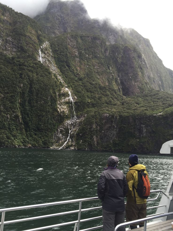 Discovering magical waterfalls during the cruise in Milford Sound, New Zealand