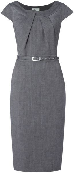grey belted work dress w/ neckline pleats | skirttheceiling