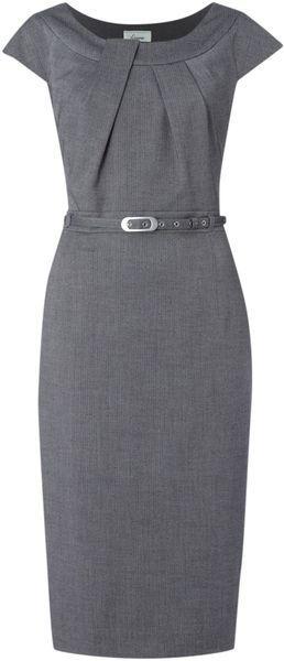 grey belted work dress w/ neckline pleats | skirttheceiling