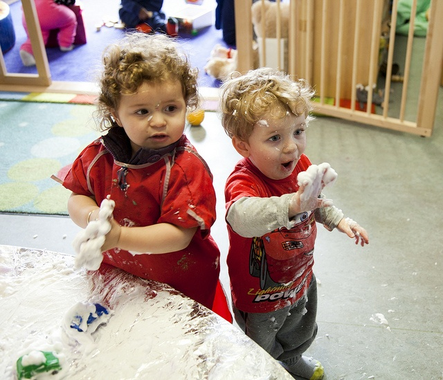 Sometimes you just have to roll-up your sleeves (or not, it seems) and get stuck in..  Classic photo here of two friends in our Furze Children's Centre nursery in Barking & Dagenham having fun with shaving foam - and quite rightly making lots of mess
